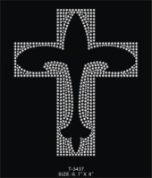 Rhinestone Cross with Fleur de Lis Cut Out Shirt