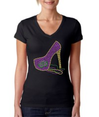 Mardi Gras High Heel Studded Shirt