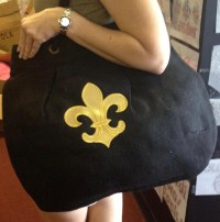 Jute Purse Black with Gold Fleur de Lis